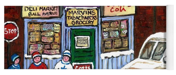 J J Joubert Vintage Milk Truck At Marvin's Grocery Montreal Memories Street Hockey Best Hockey Art Yoga Mat