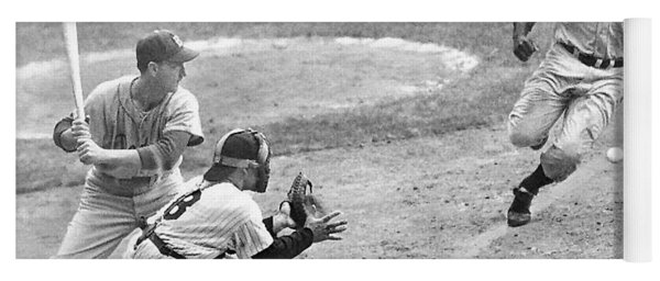 Jackie Robinson Stealing Home Yogi Berra Catcher In 1st Game 1955 World Series Yoga Mat