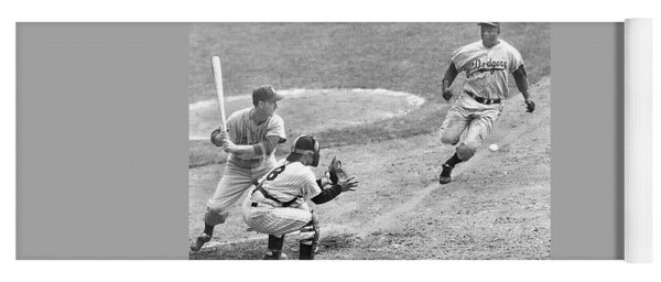 Jackie Robinson Stealing Home Yogi Berra Catcher In 1st Game 1955 World Series Yoga Mat