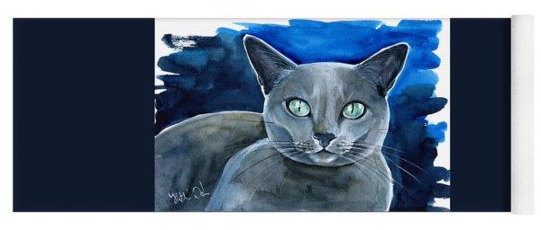 Jackpot - Russian Blue Cat Painting Yoga Mat