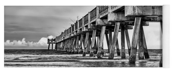 Jacksonville Beach Pier In Black And White Yoga Mat