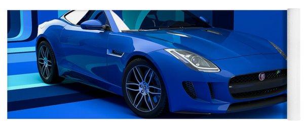 Jaguar F-type - Blue Retro Yoga Mat