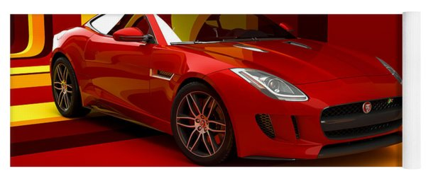 Jaguar F-type - Red Retro Yoga Mat