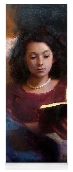 Jaidyn Reading A Book 1 - Portrait Of Young Woman - Girls Who Read - Books In Art Yoga Mat
