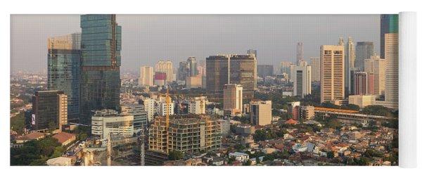 Jakarta Urban Skyline In Indonesia Yoga Mat