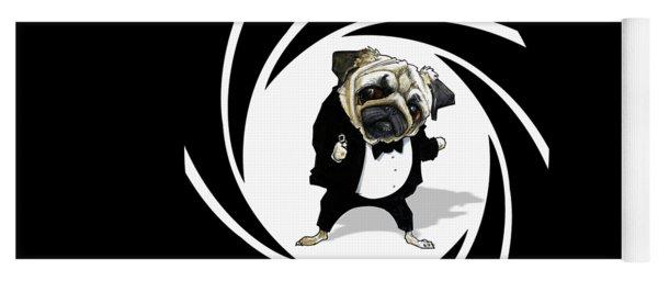 James Bond Pug Caricature Art Print Yoga Mat