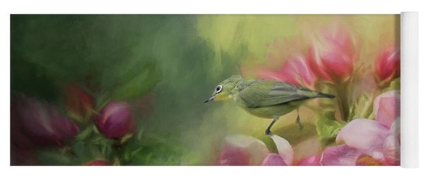 Japanese White-eye On A Blooming Tree Yoga Mat