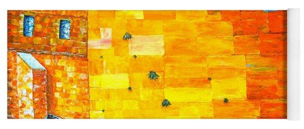 Yoga Mat featuring the painting Jerusalem Wailing Wall Original Acrylic Palette Knife Painting by Georgeta Blanaru