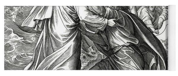 Jesus And Peter Walk On Water, Scene From Gospel Of Matthew Yoga Mat