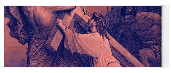 Jesus Falling Beneath The Cross  Biblical Scene Yoga Mat