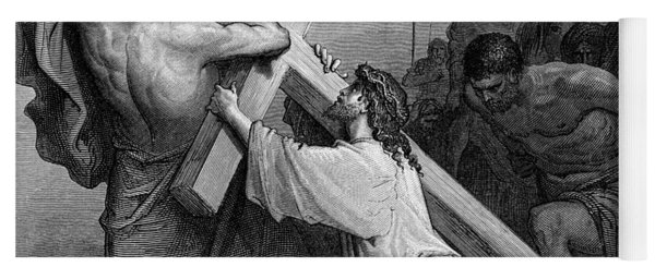Jesus Falling Beneath The Cross By Gustave Dore  Engraved Yoga Mat