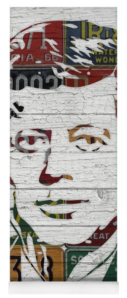 Jfk Portrait Made Using Vintage License Plates From The 1960s Yoga Mat