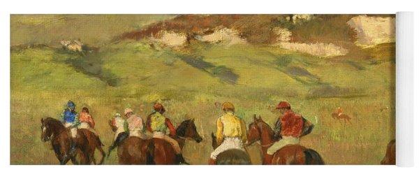 Jockeys On Horseback Before Distant Hills Yoga Mat