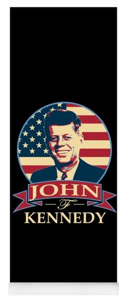 John F Kennedy American Banner Pop Art Yoga Mat