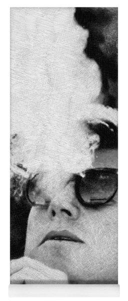 John F Kennedy Cigar And Sunglasses Black And White Yoga Mat