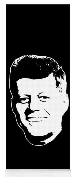 John F Kennedy White On Black Pop Art Yoga Mat