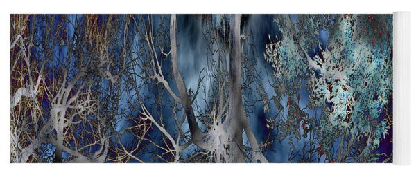 Journey Of The Willow - Abstract Blue/silver Tree  Yoga Mat