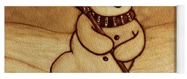 Joyful Snowman  Coffee Paintings Yoga Mat