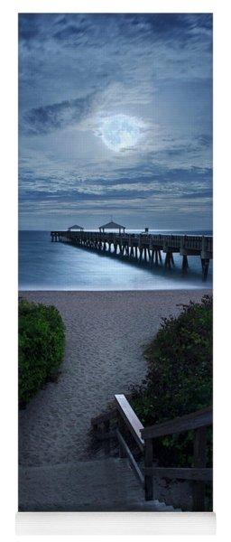 Juno Pier Stairs To Beach Under Full Moon Yoga Mat