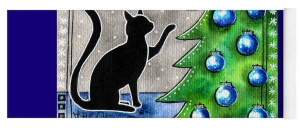 Just Counting Balls - Christmas Cat Yoga Mat