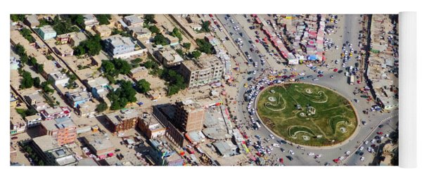Kabul Traffic Circle Aerial Photo Yoga Mat