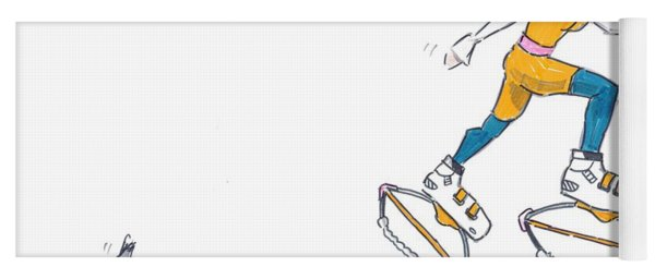 Kangoo Jumps Bouncy Shoes Walking The Dog Keep Fit Cartoon Yoga Mat