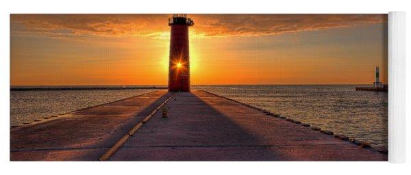 Kenosha Lighthouse Sunrise Yoga Mat