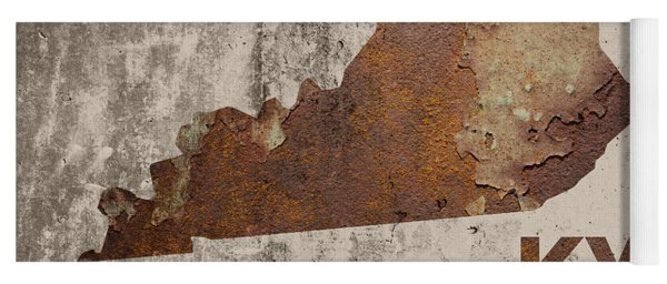 Kentucky State Map Industrial Rusted Metal On Cement Wall With Founding Date Series 002 Yoga Mat
