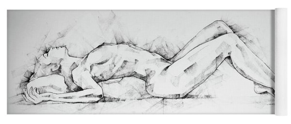Sketchbook Page 55 Charcoal Drawing Woman Lateral Pose Yoga Mat