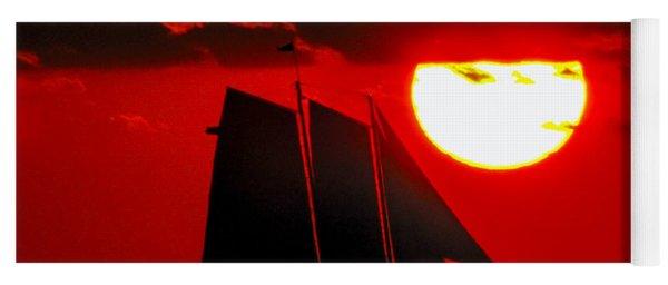 Key West Sunset Sail Silhouette Yoga Mat