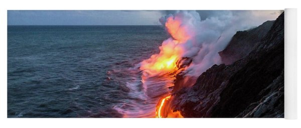 Kilauea Volcano Lava Flow Sea Entry 3- The Big Island Hawaii Yoga Mat
