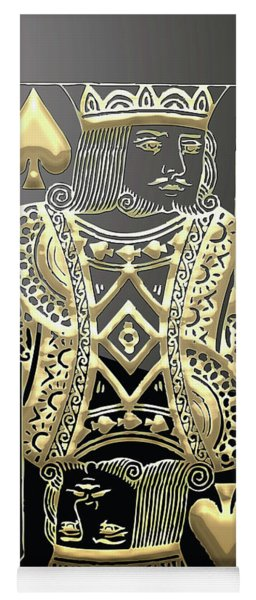 King Of Spades In Gold On Black   Yoga Mat
