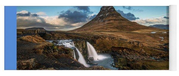 Kirkjufellsfoss Waterfall And Kirkjufell Mountain, Iceland Yoga Mat