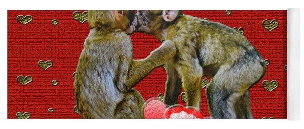 Kissing Chimpanzees Hearts Yoga Mat