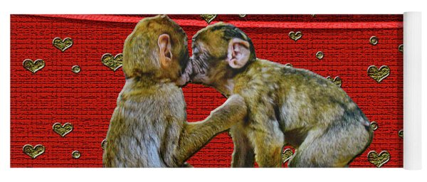 Yoga Mat featuring the photograph Kissing Chimpanzees Hearts by Rockin Docks Deluxephotos