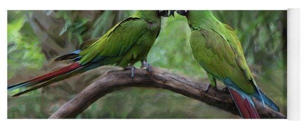 Kissing Macaws Yoga Mat