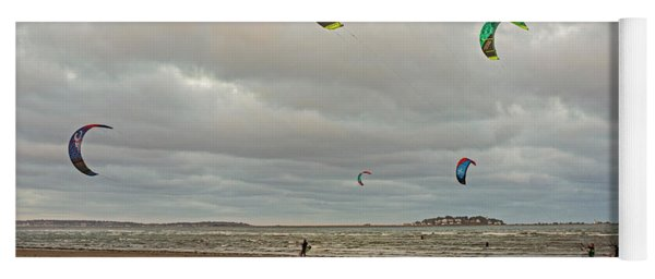 Kitesurfing On Revere Beach Yoga Mat