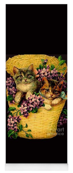 Kittens With Violets Victorian Print Yoga Mat
