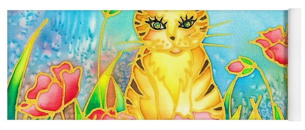 Kitty And Poppies Yoga Mat