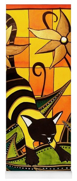 Kitty Bee - Cat Art By Dora Hathazi Mendes Yoga Mat