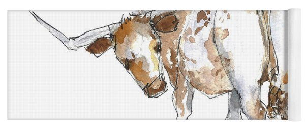 Kmcelwaine Logo Longhorn, Ollie, Texas Longhorn Art Print,watercolor Cow Painting, Whimsical, Yoga Mat