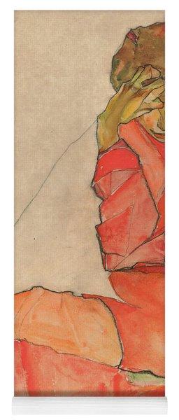 Kneeling Female In Orange-red Dress Yoga Mat