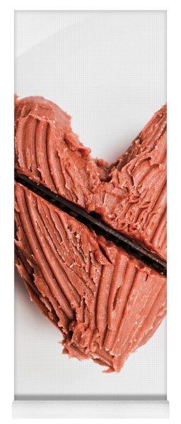 Knife Cutting Heart Shape Chocolate On Plate Yoga Mat