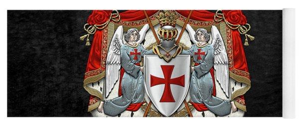 Knights Templar - Coat Of Arms Over Black Velvet Yoga Mat