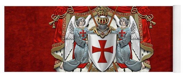 Knights Templar - Coat Of Arms Over Red Velvet Yoga Mat