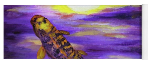 Koi In Purple Twilight Yoga Mat