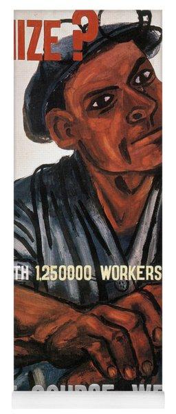 Labor Poster, 1930s Yoga Mat
