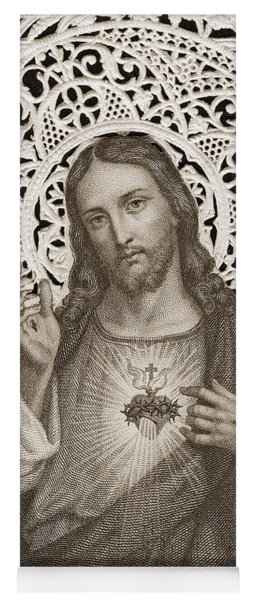 Lace Card Depicting The Sacred Heart Of Jesus Yoga Mat