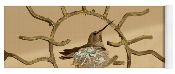 Lady Hummingbird On Her Nest Yoga Mat
