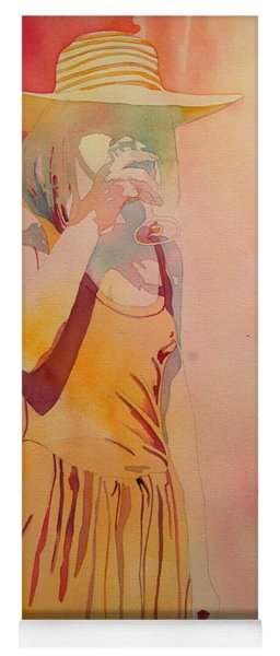 Lady In Yellow Yoga Mat